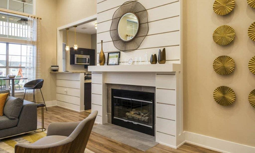 Fireplace at Hawthorne at Main's Clubhouse