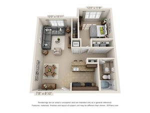 Cobalt One Bed One Bath 3D Floor Plan Rendering at Amberleigh Ridge Apartment in Chattanooga, TN