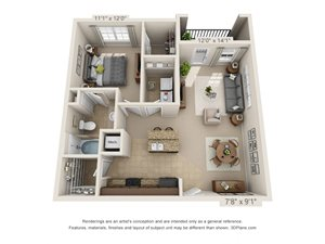 Mica One Bed One Bath 3D Floor Plan Rendering at Amberleigh Ridge Apartment in Chattanooga, TN