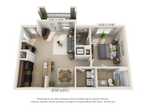 Sandstone One Bed One Bath 3D Floor Plan Rendering at Amberleigh Ridge Apartment in Chattanooga, TN