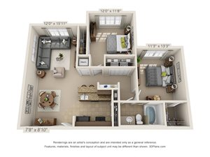 Copper Two Bed One Bath 3D Floor Plan Rendering at Amberleigh Ridge Apartment in Chattanooga, TN