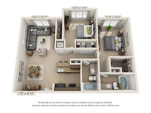 Topaz Two Bed Two Bath 3D Floor Plan Rendering at Amberleigh Ridge Apartment in Chattanooga, TN