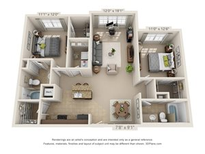 Slate Two Bed Two Bath 3D Floor Plan Rendering at Amberleigh Ridge Apartment in Chattanooga, TN