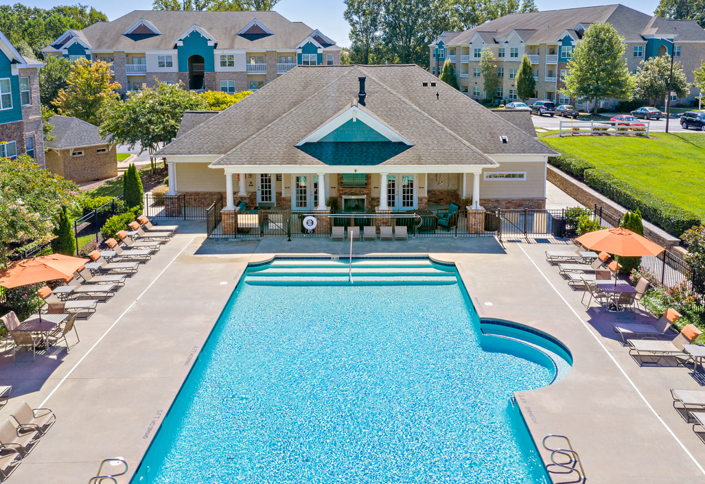 Sparkling swimming pool and expansive sundeck at Hawthorne at Horse Pen Creek