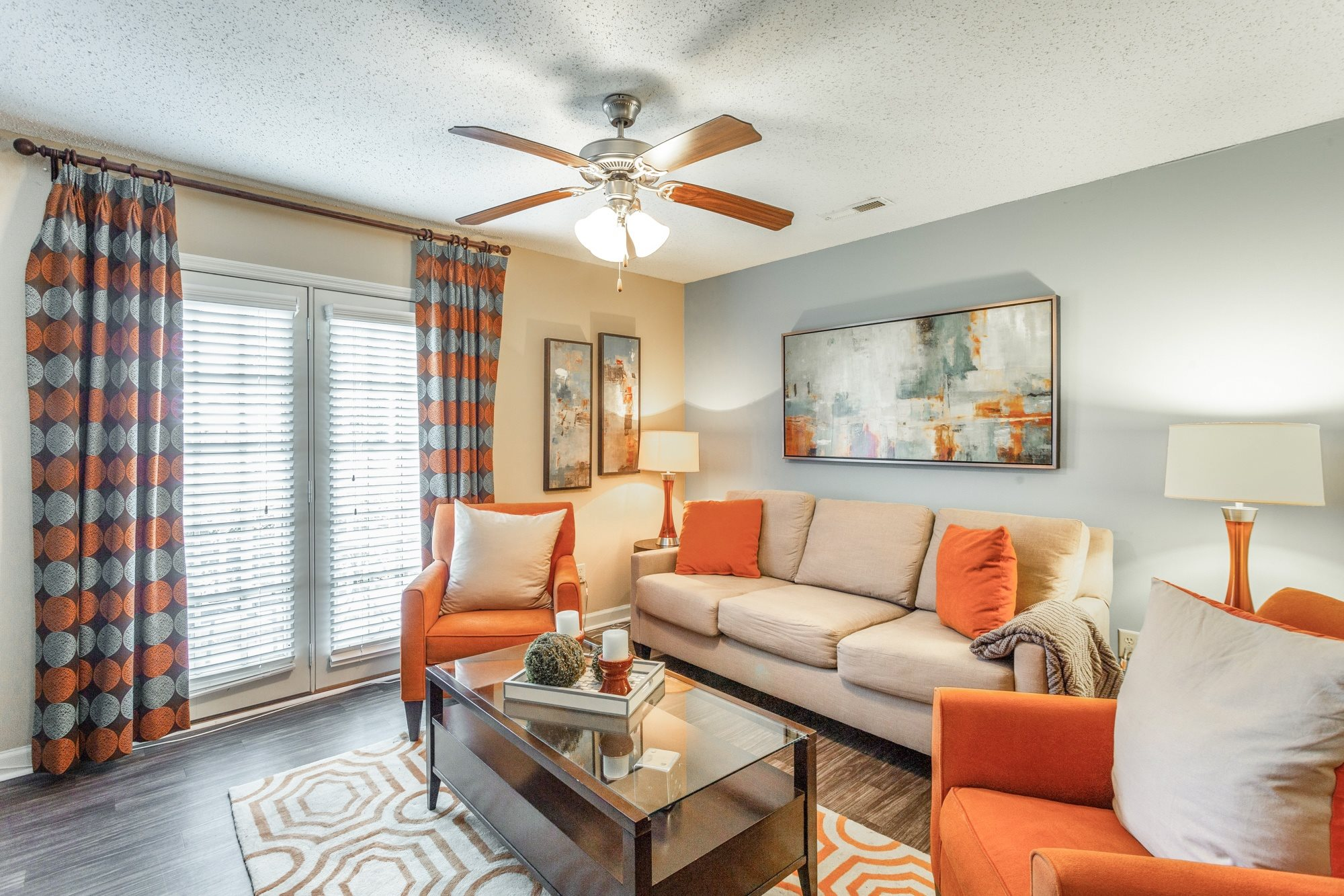 Model Living Room at Hawthorne at the Ridge in Madison, AL