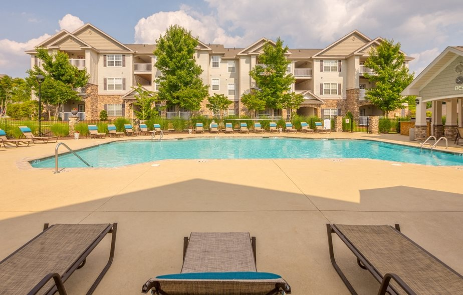Sparkling Swimming Pool and Sunshelf at Hawthorne at the Meadows in Kernersville North Carolina