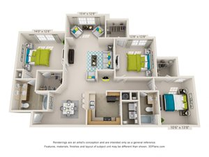 The Salem Floor Plan Rendering at Hawthorne at the Meadows in Kernersville North Carolina