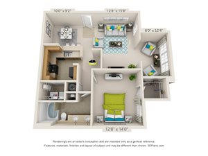 The Triad Floor Plan Rendering at Hawthorne at the Meadows in Kernersville North Carolina