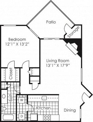 1 bed 1 bath floor plan Campbell Creek