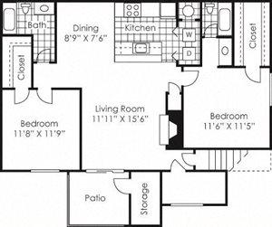 2 bed 2 bath floor plan Harrisburg