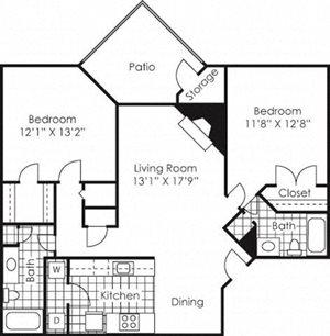 2 bed 2 bath floor plan Kilbourne