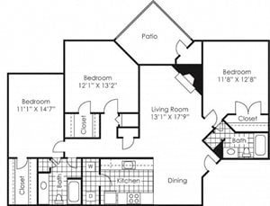 3 bed 2 bath floor plan Sheffield