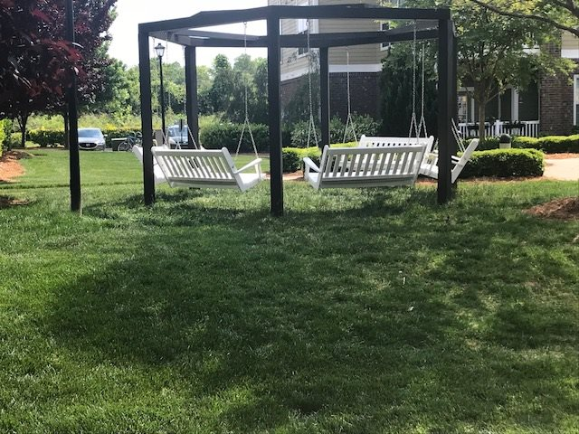 Conversation Swing on the Grounds of Hawthorne at the Greene in Asheville North Carolina