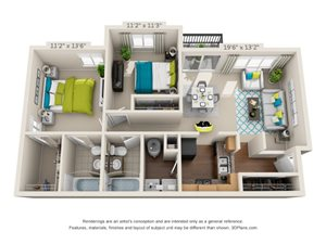 The Ashe Floor Plan Rendering at Hawthorne at the Peak in Asheville, North Carolina