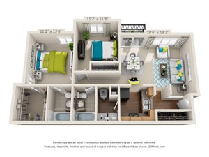 The Highland Floor Plan Rendering at Hawthorne at the Peak in Asheville, North Carolina