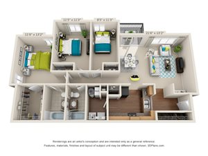The Lookout Floor Plan Rendering at Hawthorne at the Peak in Asheville, North Carolina