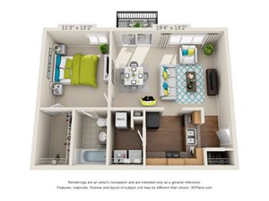 The Point Floor Plan Rendering at Hawthorne at the Peak in Asheville, North Carolina