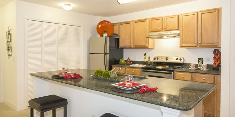 Beach Village Apartments for rent in Palm Coast, FL. Make this community your new home or visit other Concord Rents communities at ConcordRents.com. Kitchen
