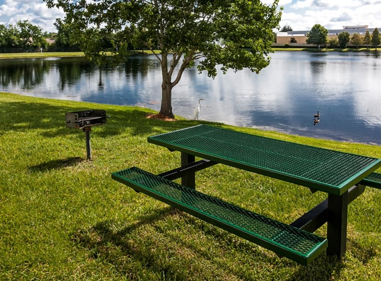 Lakeside Picnic Area with Grill at Berkshire Club, for more communities, visit Concord Rents at ConcordRents.com