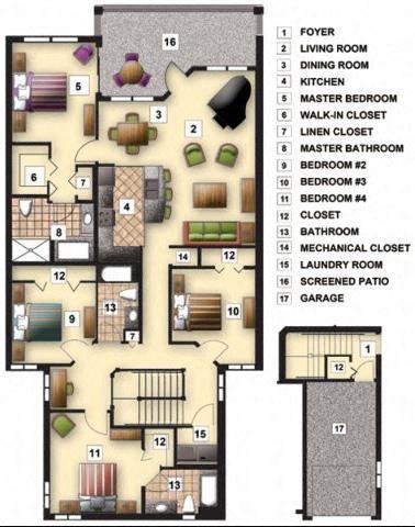 Four Bedroom Three Bath Floor Plan 2