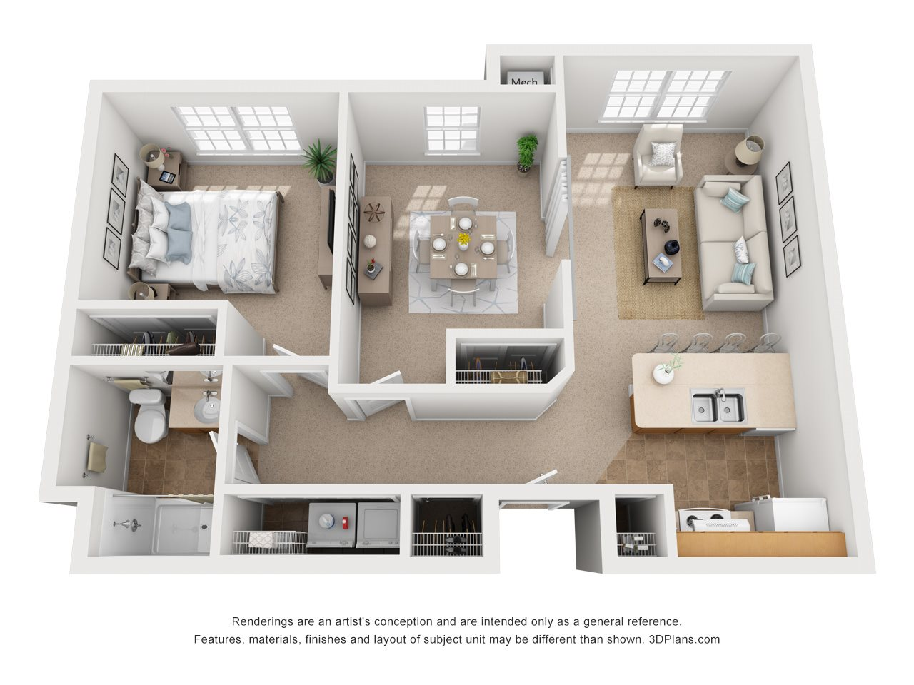 One Bedroom w/ Den Floor Plan 3