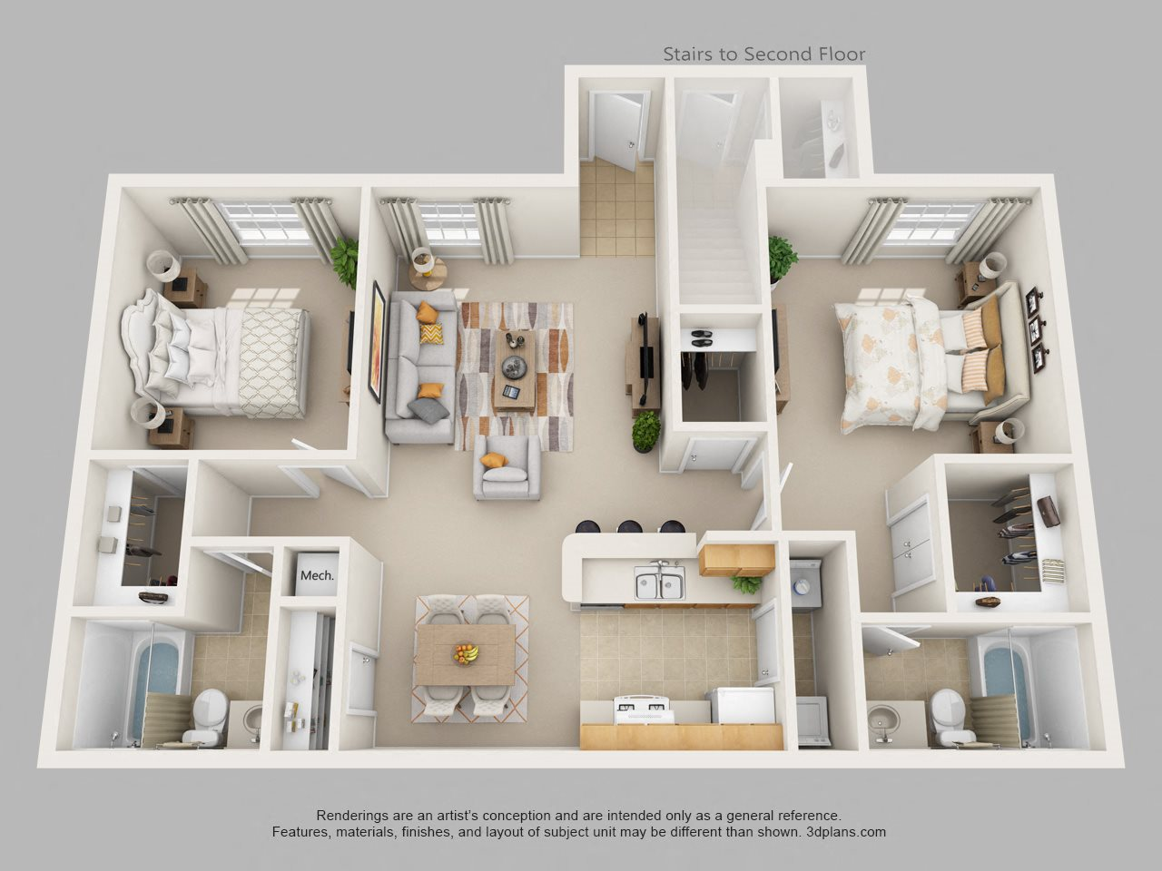 Two Bedroom Two Bath Floor Plan 1