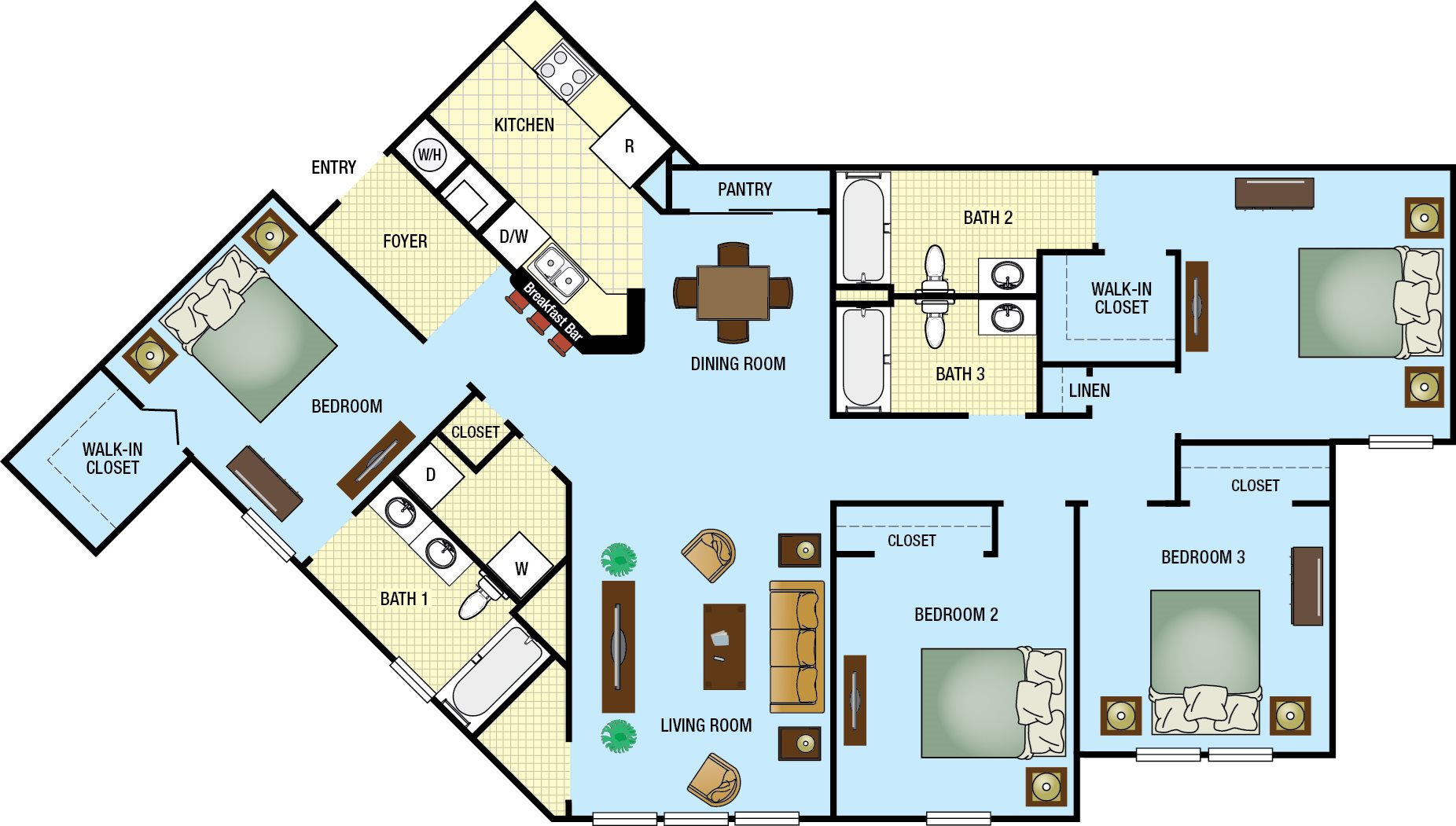 Four Bedroom Three Bath Floor Plan 4