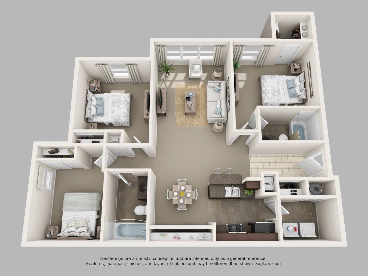 Three Bedroom Two Bath Floor Plan 3