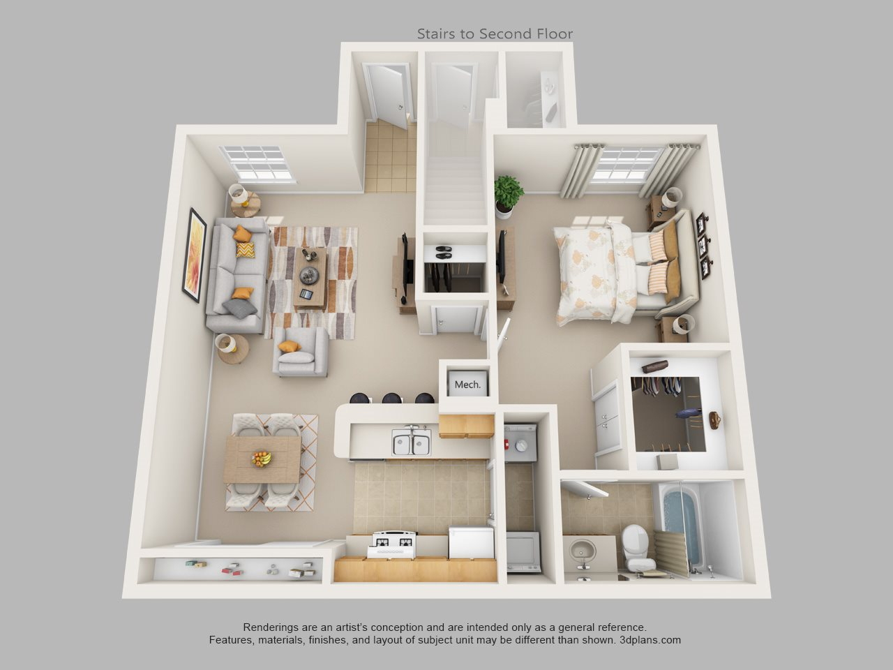 one bedroom one bath floor plan 1 - One Bedroom