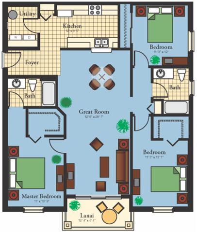 Three Bedroom Two Bath Floor Plan 2