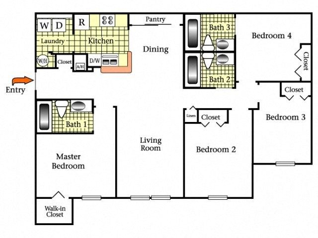 Four Bedroom/Three Bath Floor Plan 4