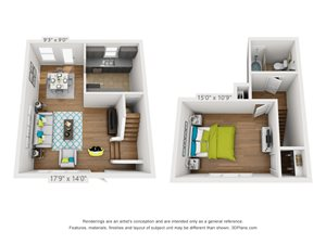 One Bedroom, One Bathroom TownHome Floor Plan 3D Rendering for Hawthorne Northside in Asheville, North Carolina