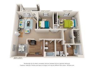 Two Bedroom, Two Bathroom 3D Floor Plan Rendering of the Capshaw at Hawthorne at the Ridge