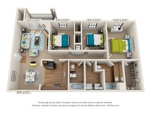Three Bedroom, Two Bathroom 3D Floor Plan Rendering of the Monte Sano I at Hawthorne at the Ridge