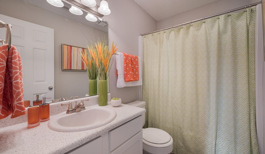 Spacious bathroom with storage for all of your needs at Hawthorne at the Ridge