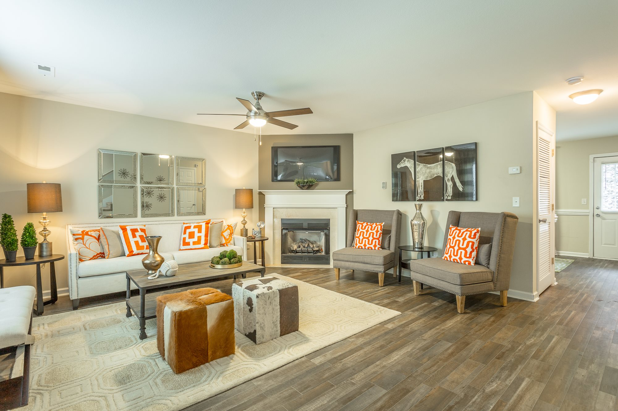 Living Room at Bluff View at Northside - Hixson TN 37343