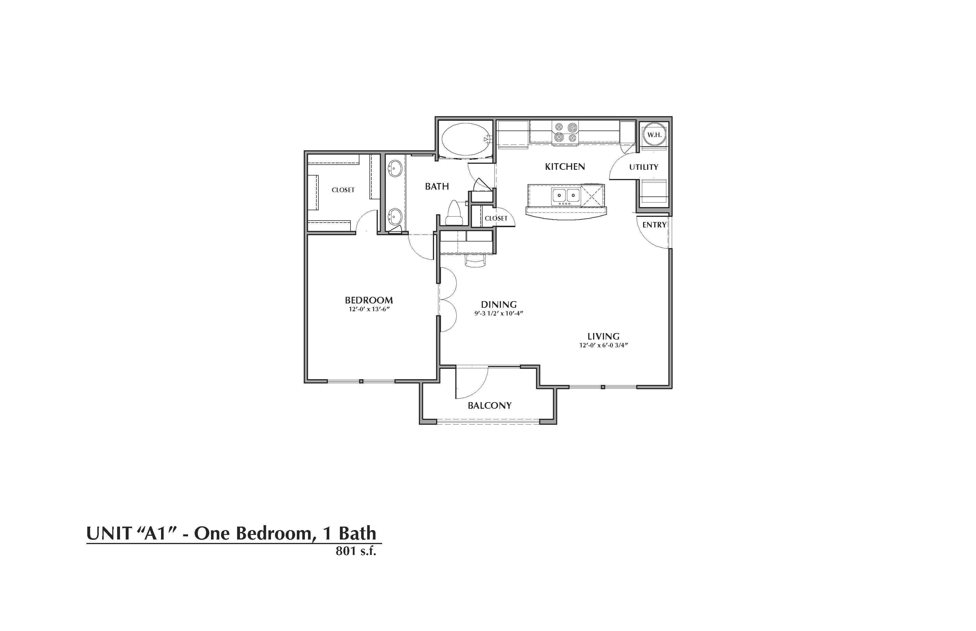 A1-Bailey, 1x1 801sf Floor Plan 1