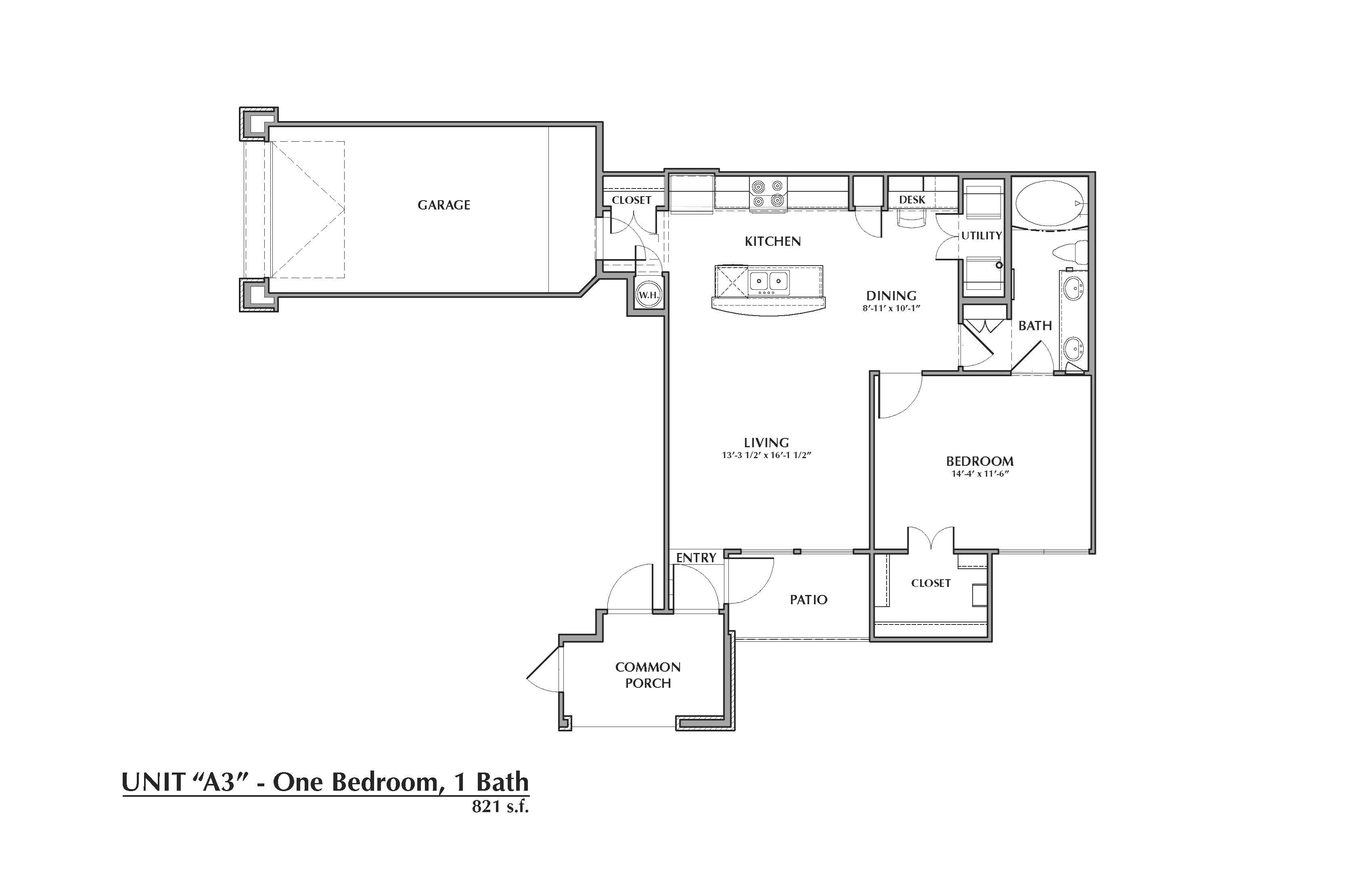 A3-Areca, 1x1 821sf (with attached garage) Floor Plan 3
