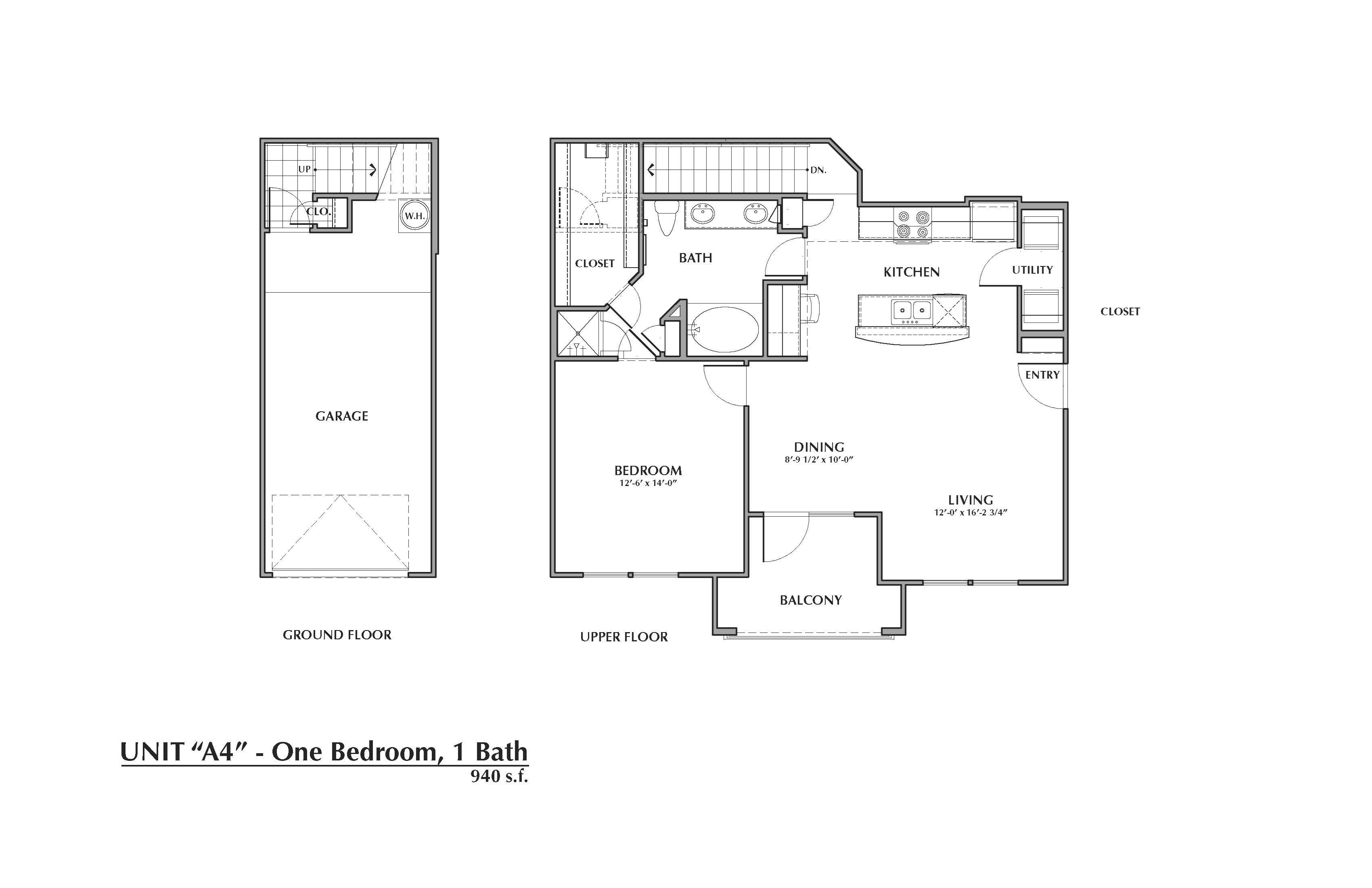 A4-Palmetto, 1x1 940sf (with attached garage) Floor Plan 4