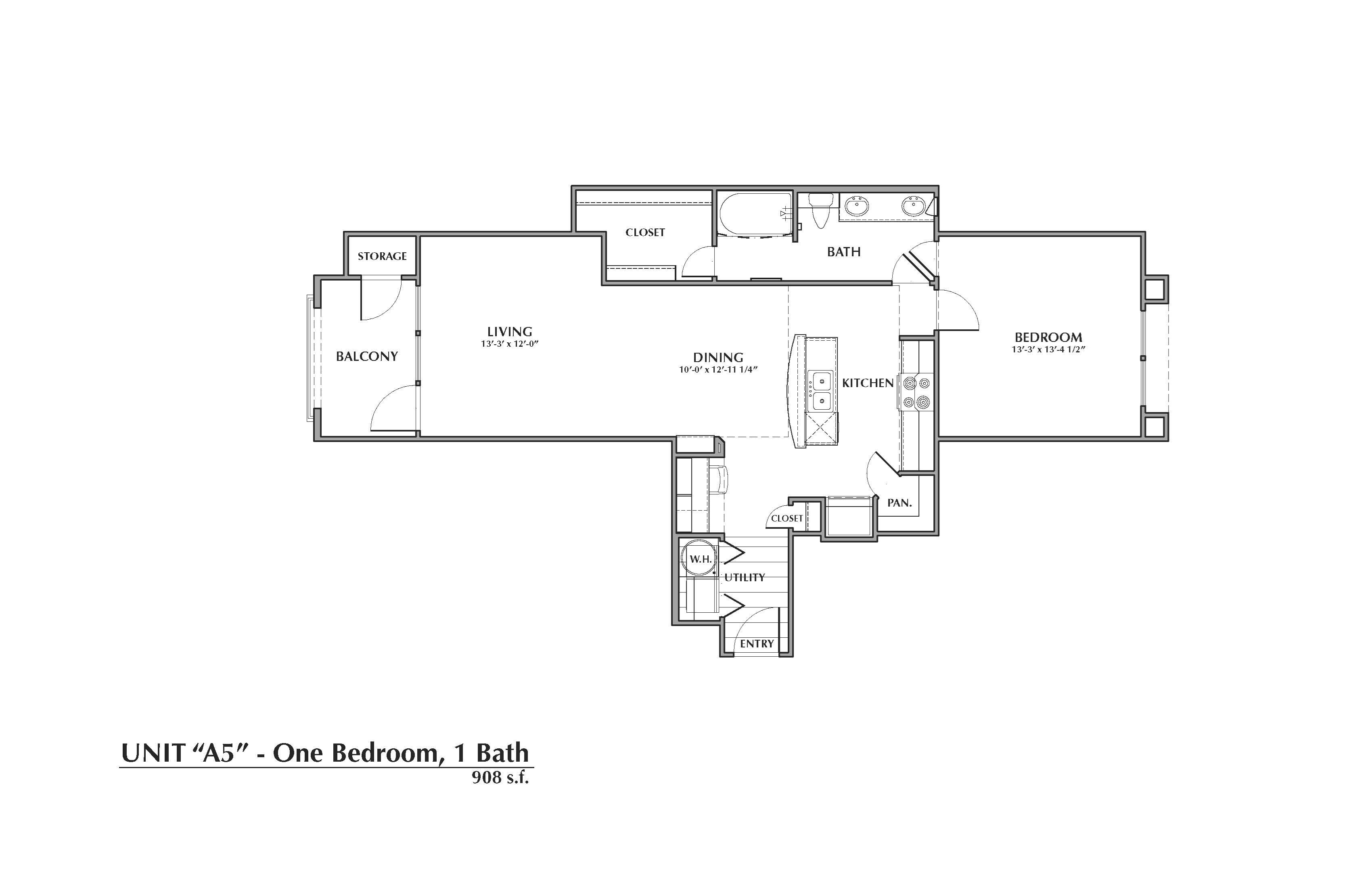 A5-Bismarck, 1x1 908sf Floor Plan 5