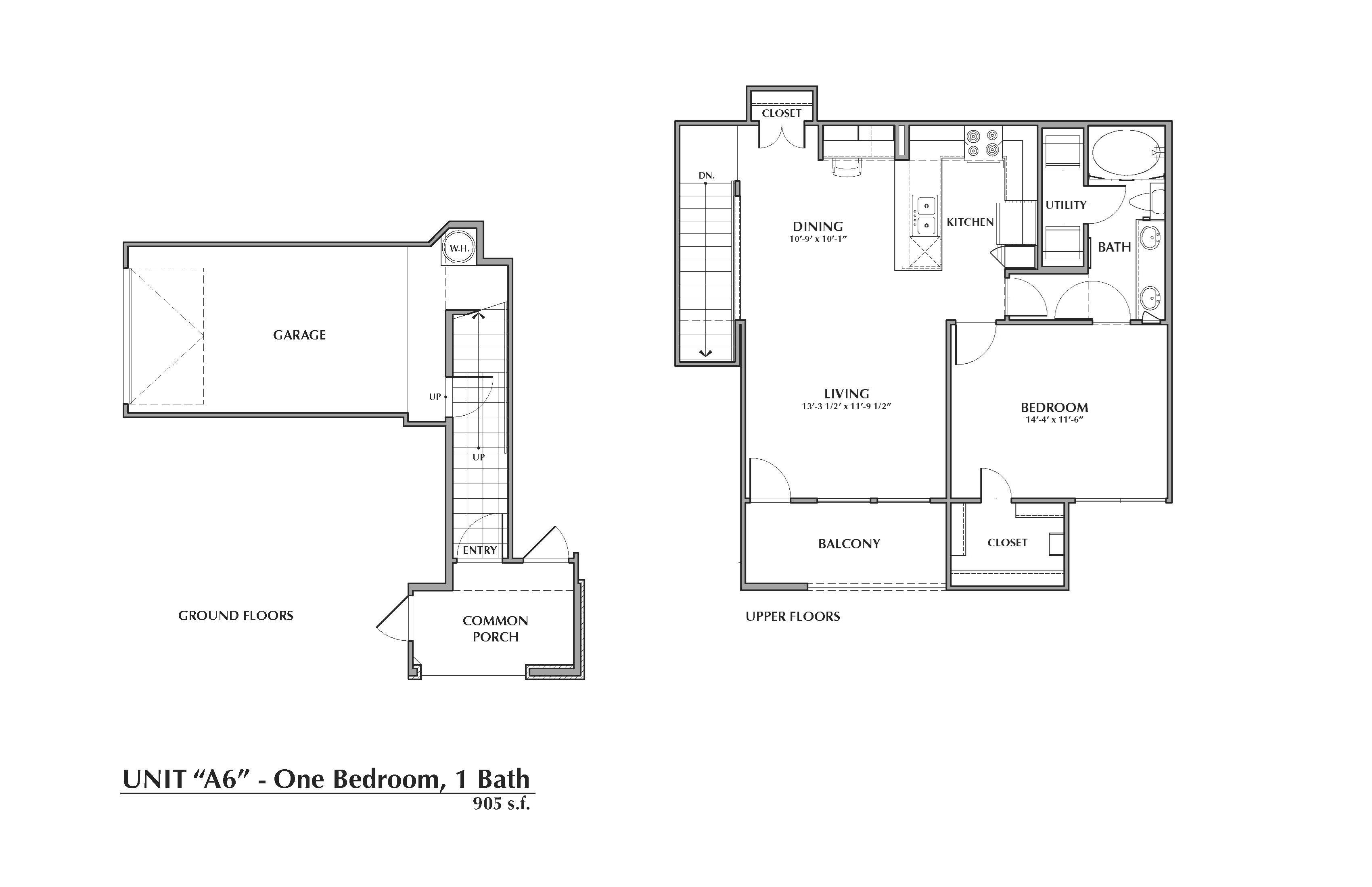 A6-Pacaya, 1x1 905sf (with attached garage) Floor Plan 6