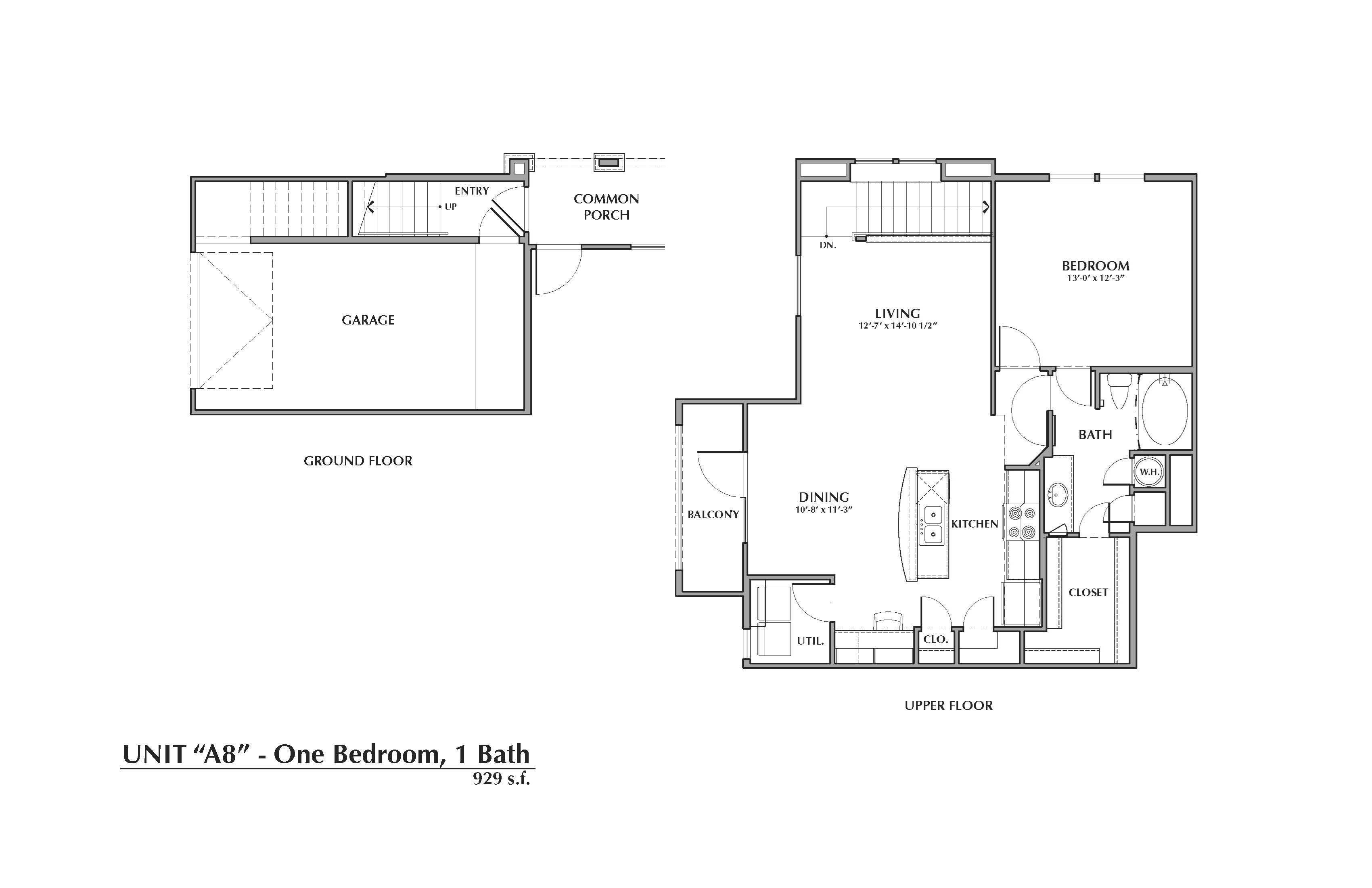 A8-Sabal, 1x1 929sf (with attached garage) Floor Plan 8