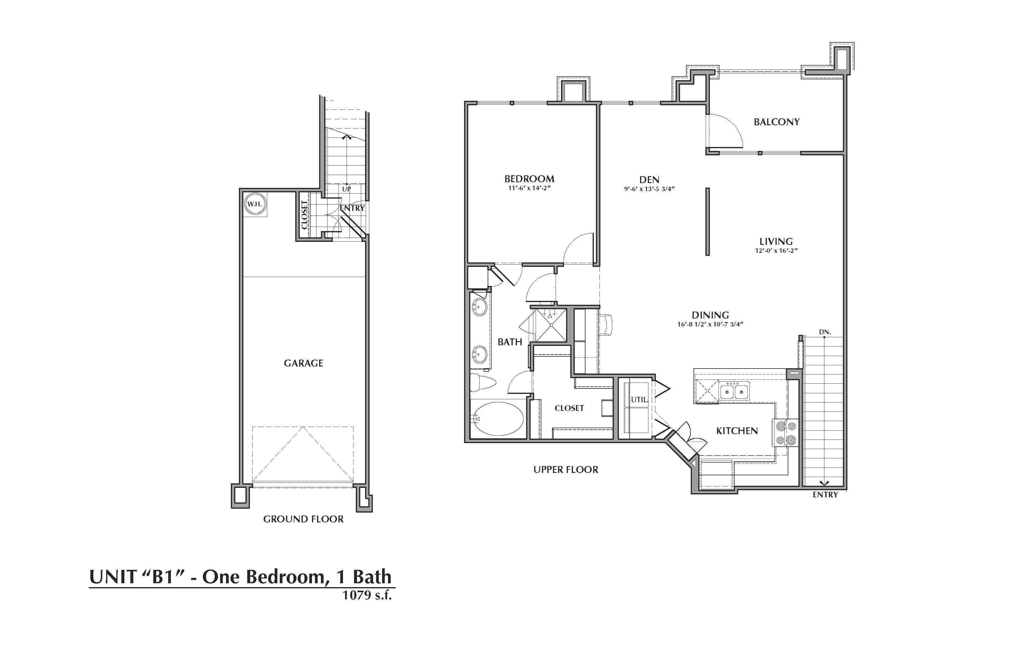 B1-Mazari, 1x1+Den 1079sf (with attached garage) Floor Plan 9