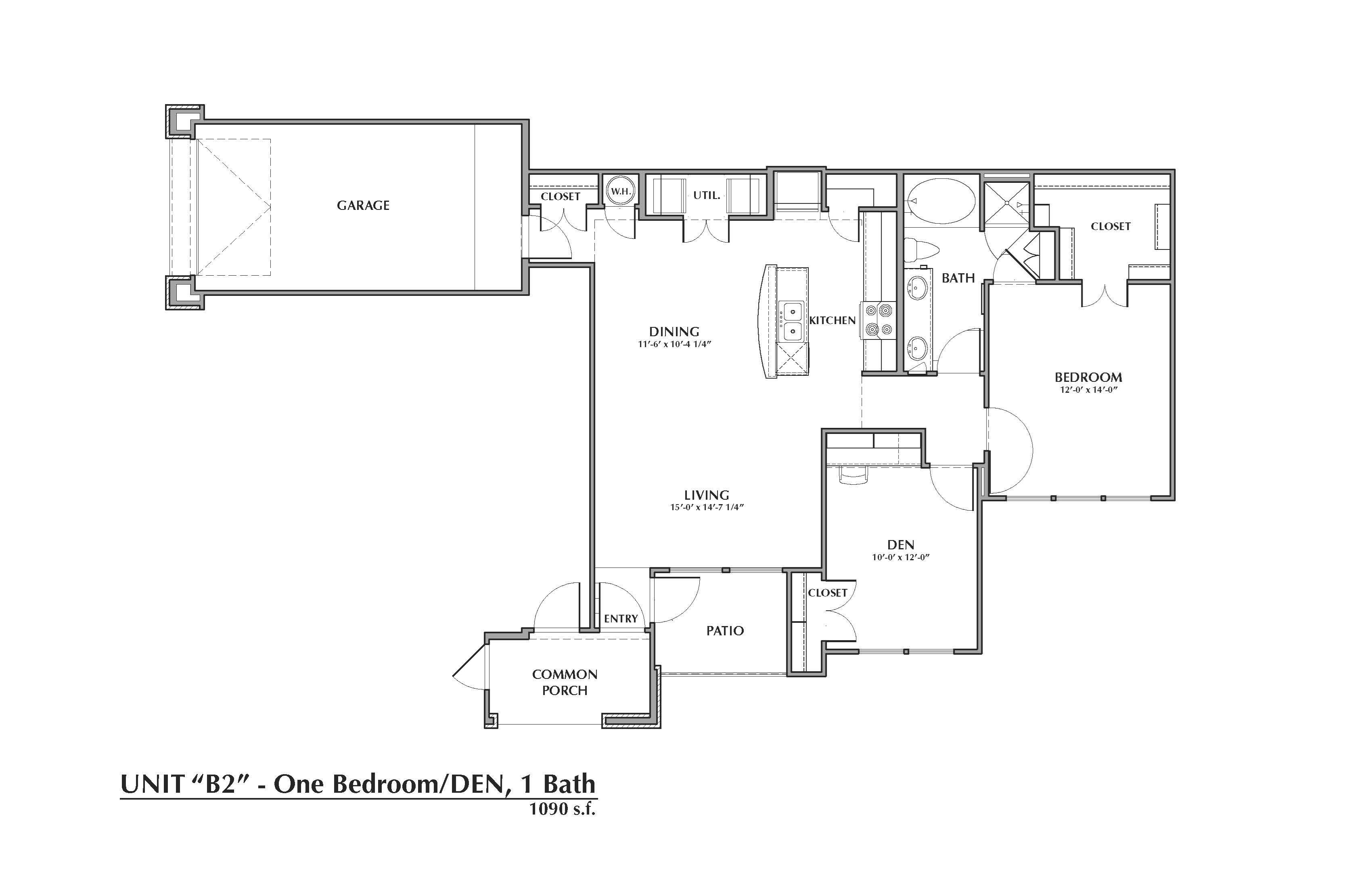 B2-Alexander, 1x1+Den 1090sf (with attached garage) Floor Plan 10