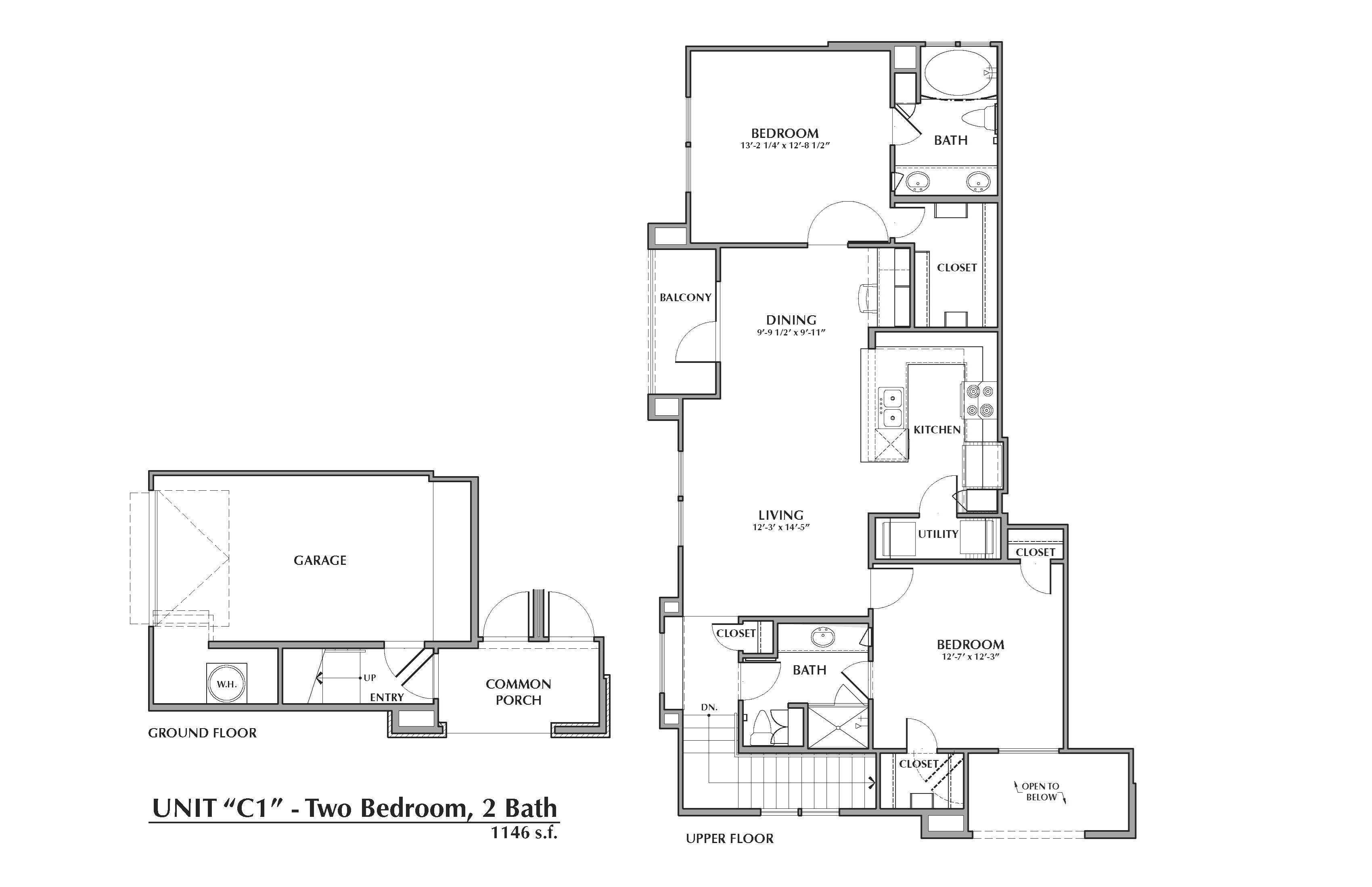 C1-Pindo, 2x2 1146sf (with attached garage) Floor Plan 13