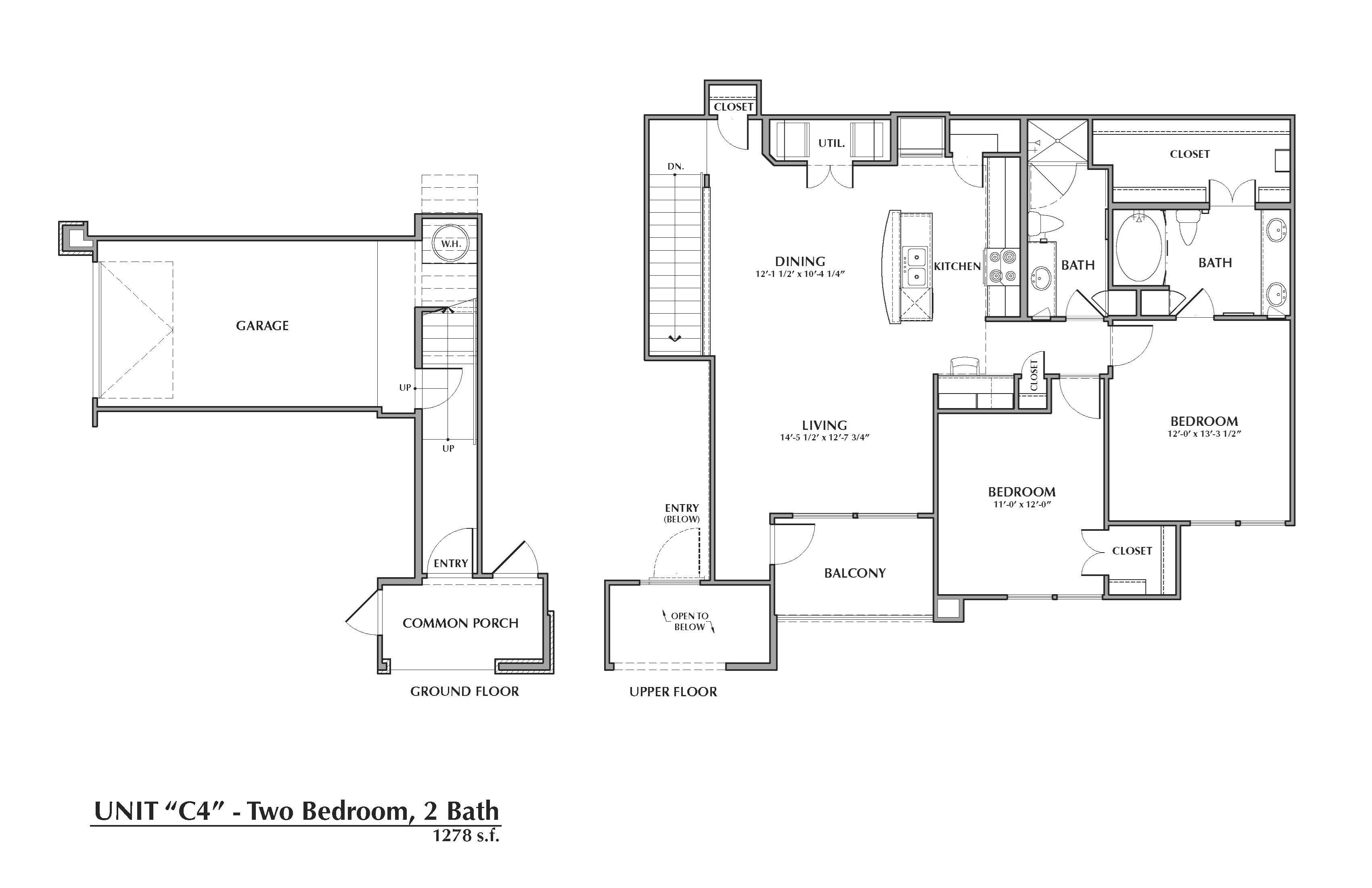 C4-Senegal, 2x2 1278sf (with attached garage) Floor Plan 16
