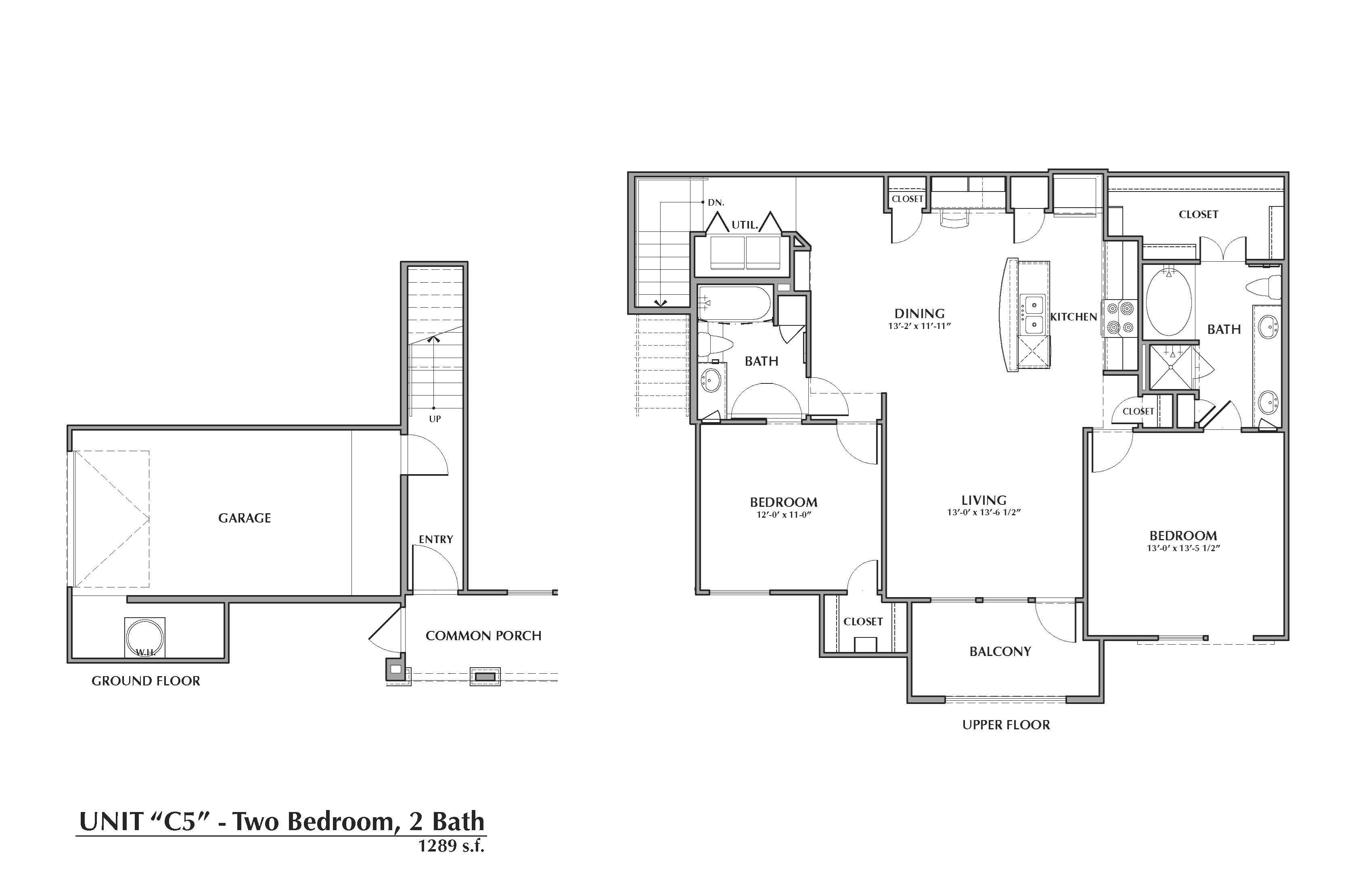 C5-Montgomery, 2x2 1289sf (with attached garage) Floor Plan 17