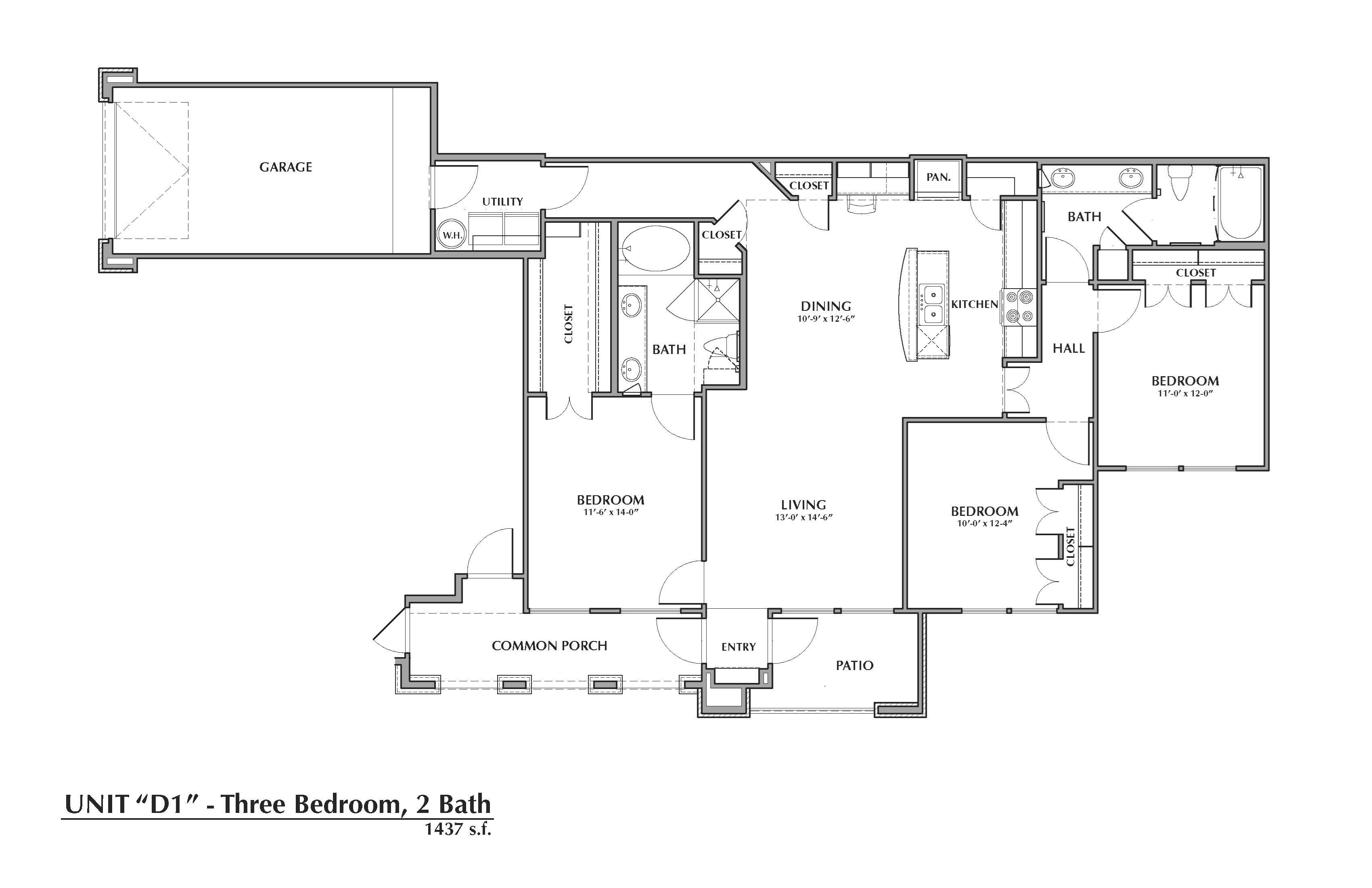 D1-King, 3x2 1437sf (with attached garage) Floor Plan 18