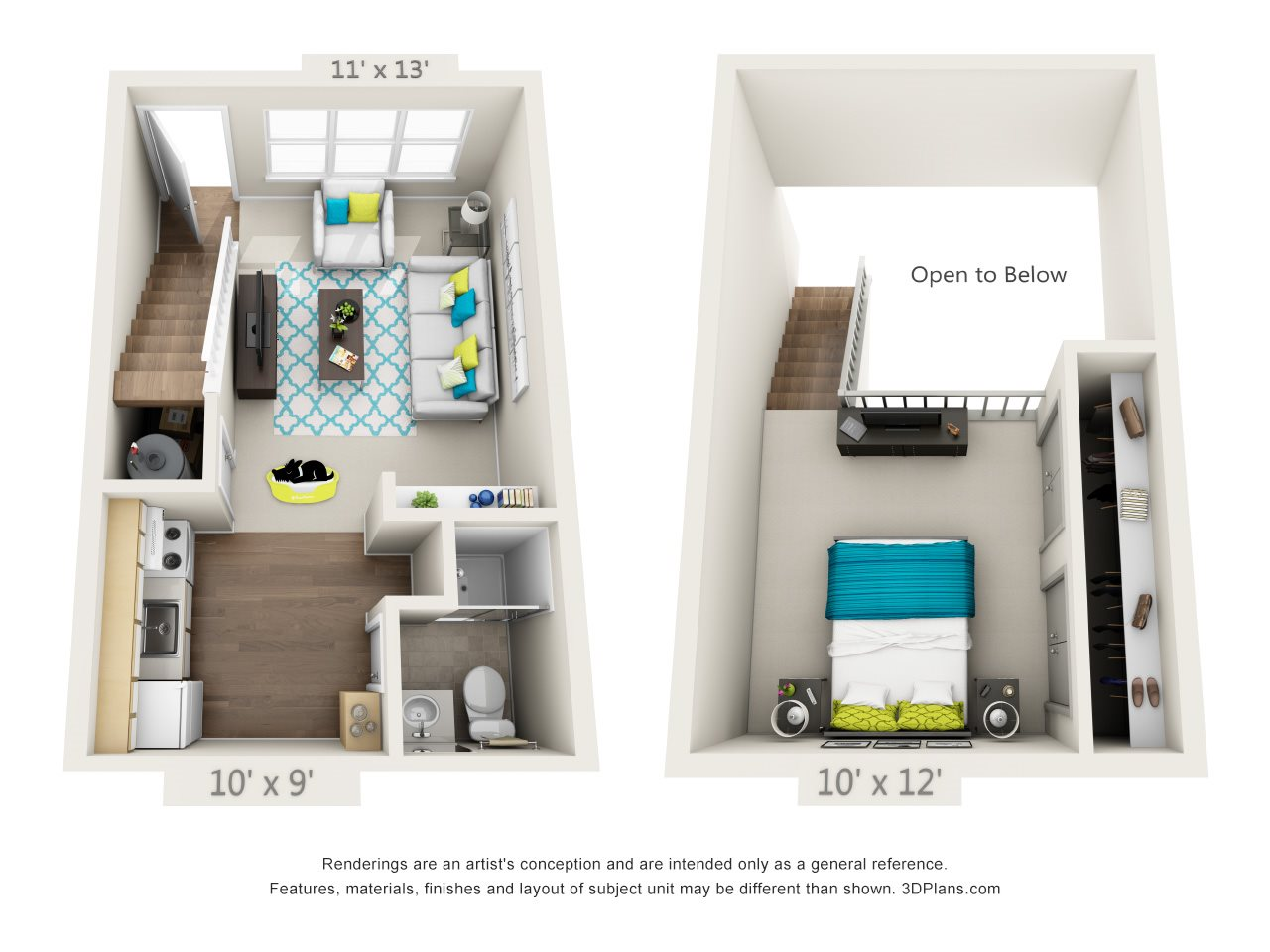 1 Bedroom Loft - Classic Floor Plan 1