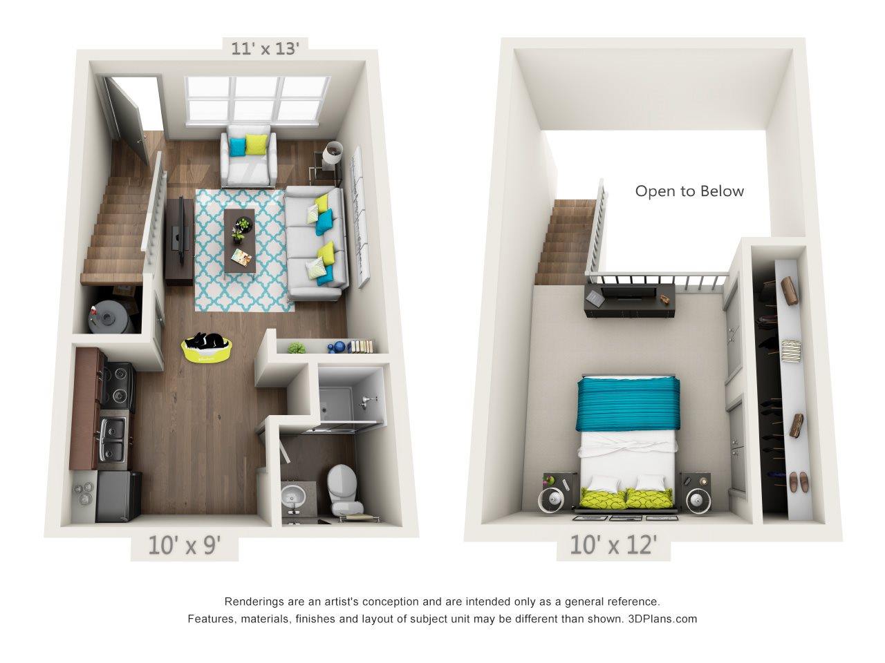 1x1 Loft - Refreshed Floor Plan 2